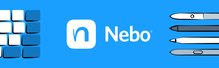 Nebo logo with some pens on the right side of the photos and a keyboard on the left. In Nebo, you can take notes with a stylus and keyboard.