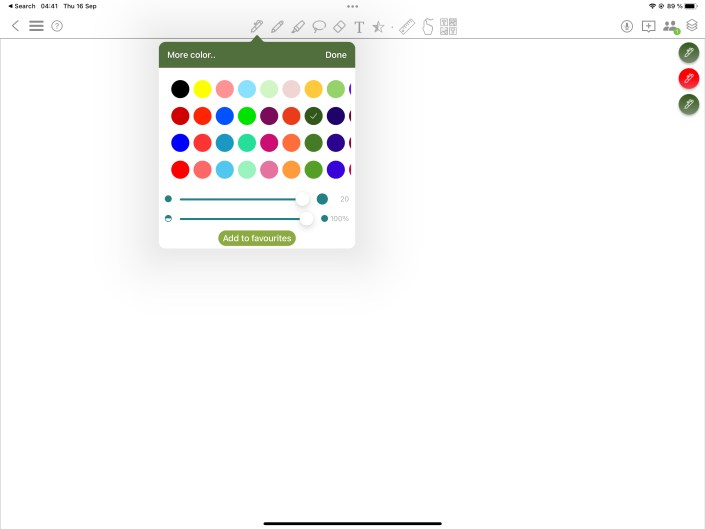 Screenshot of pen tools in the app, showing all the colours in the app