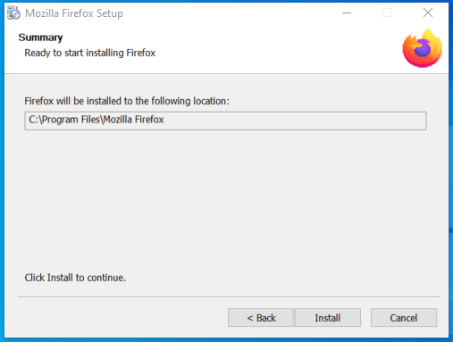 Mozilla Firefox installation folder setup