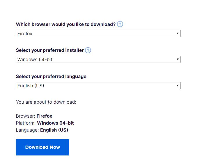 Mozilla Firefox offline installer options
