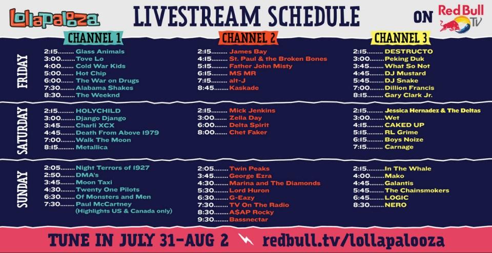 Lolla Livestream Schedule