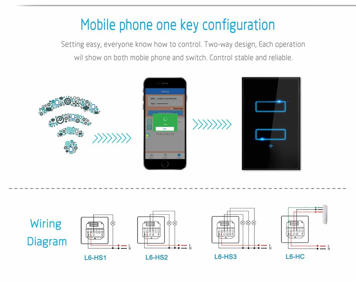 2 Gang Smart Light Switch Rectangular Way Operation