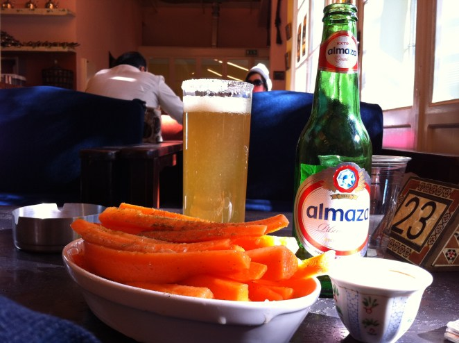 such an easy but delicious snack, carrots with lemon juice and cumin at Falamankis in Beirut