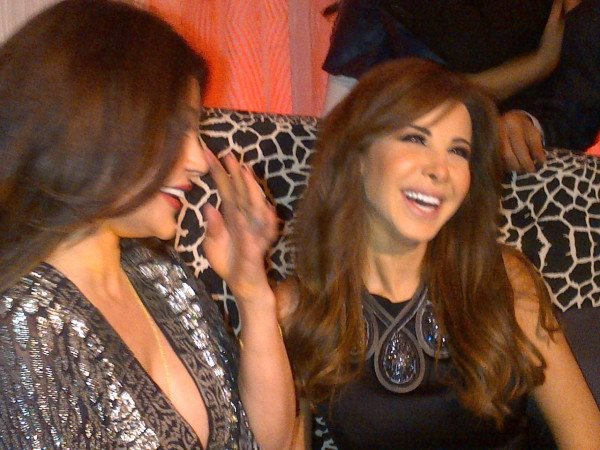 Haifa and Nancy smile with Roberto, at Cavalli Caffe Opening in Beirut
