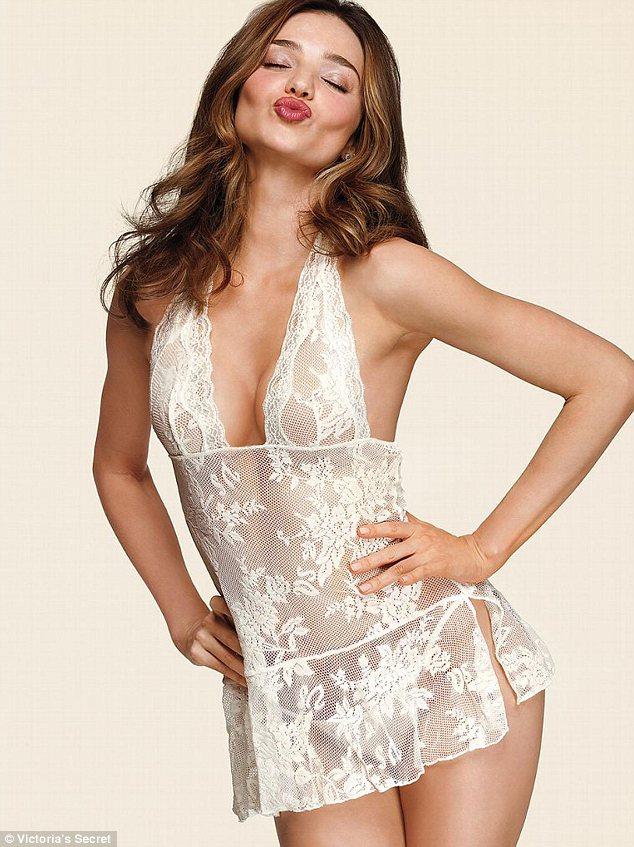 Miranda Kerr sets pulses racing as she models new Victoria's Secret bridal underwear