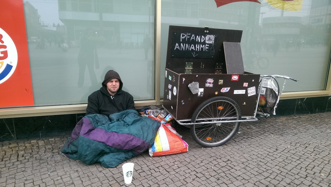 homeless on Alexanderplatz