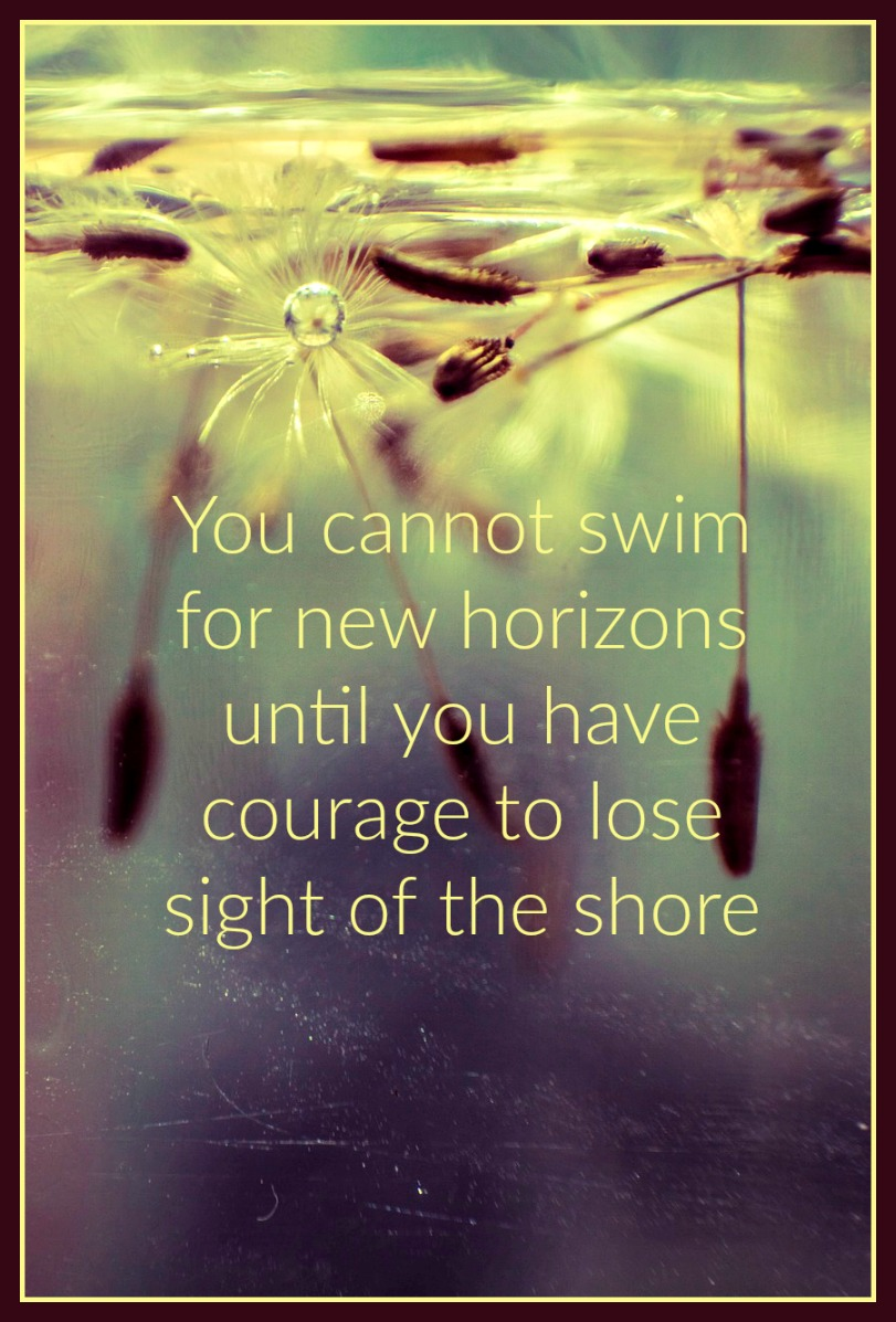 be kitschig quote You cannot swim for new horizons until you have courage to lose sight of the shore William Faulkner