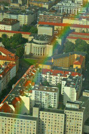 Volksbühne, Rosa-Luxemburg-Platz from TV tower berlin