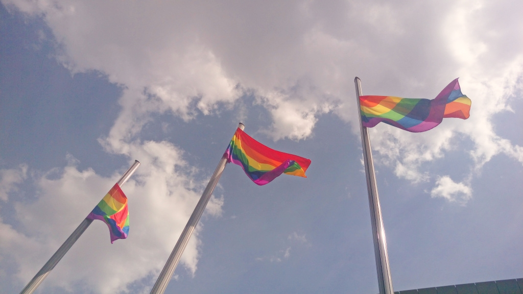 #rainbow #flags #mauerpark #berlin #stadium #summer bekitschig blog