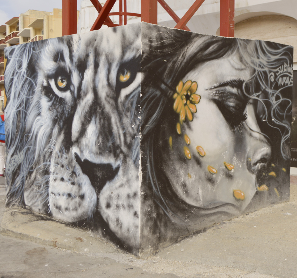 Street art in Malta Bugibba mural grafitti justinks be kitschig blog lady lion