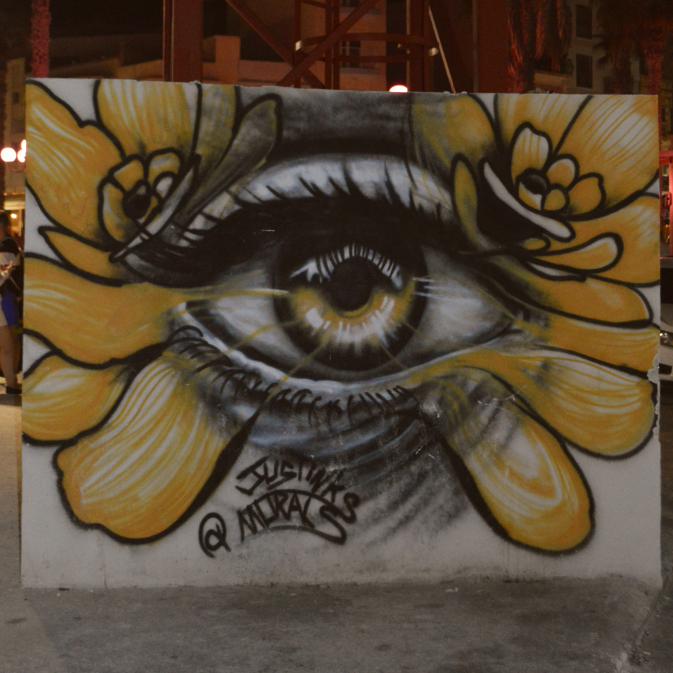 Street art in Malta Bugibba mural grafitti justinks be kitschig blog eye flower