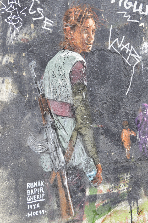 female soldier Runak Bapir Gherib by Moe79 Rosenthaler Strasse  #streetart b ekitschig blog Berlin