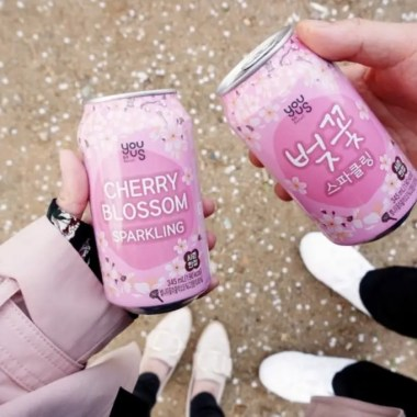 Two can of cherry blossom flower drinks - Korean Food