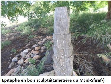 Epitaphe en bois sculpté(Cimetière du Mcid-Sfisef-)