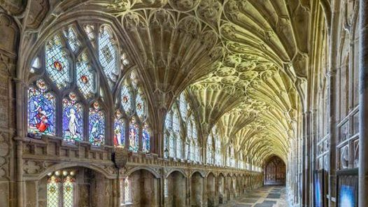 The cloister of Gloucester Cathedral in Gloucestershire.