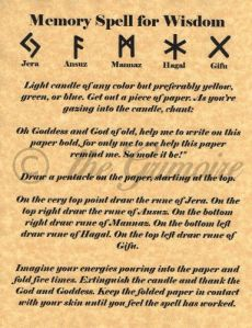 Book of Shadows, MEMORY SPELL FOR WISDOM, Witchcraft, Wicca, BOS