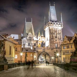 The bridge tower at the end of the Charles Bridge on the side of Malá Strana on