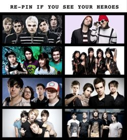 Re-pin if you see your heroes. Mcr, tøp, ptv, bvb, fob, p!ad, atl, bmth #random #repin #bands #e ...