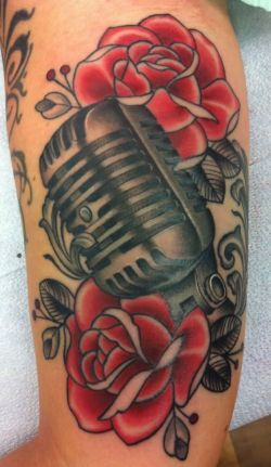 Vintage microphone and rose tattoo. Dan wants a vintage mic in his next tattoo. ^^^ My brother i ...
