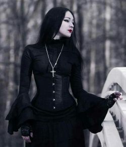 Beautiful neck high dress with a corset sort of piece over it. I love the gothic look, I think i ...