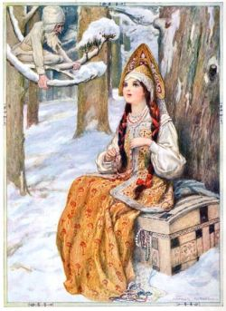 From the Frost, The Frost could not help admiring her, illustration from 'Stories of Russi ...