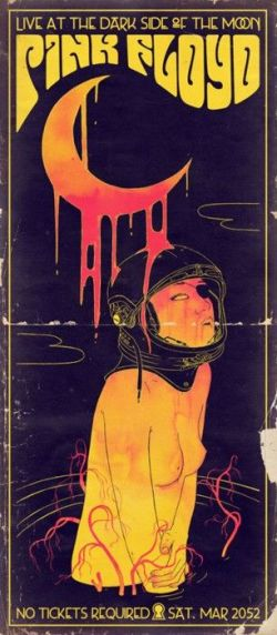 Pink Floyd, after psychedelic poster art. Contrast between black and yellow creates visual tensi ...