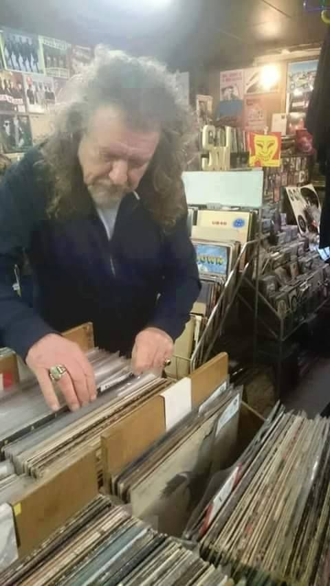 Robert Plant at a local record shop