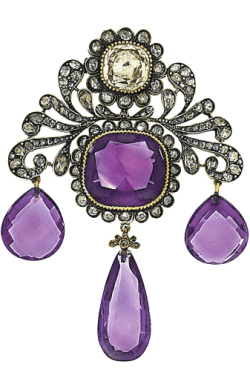 A 19th century amethyst, diamond and gem brooch.
