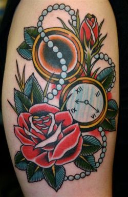 Old school #rose #tattoo with pocket watch and pearl necklace – #tattoos