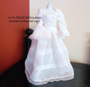 Vintage Mexican Wedding Dress Miniature Replica
