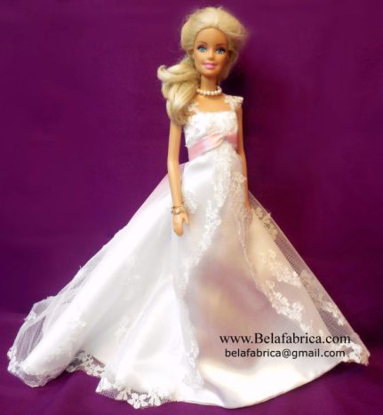 Alfred Angelo 1719W with veil and bouquet Miniature Replica along with a Pink Sash BY BELAFABRICA