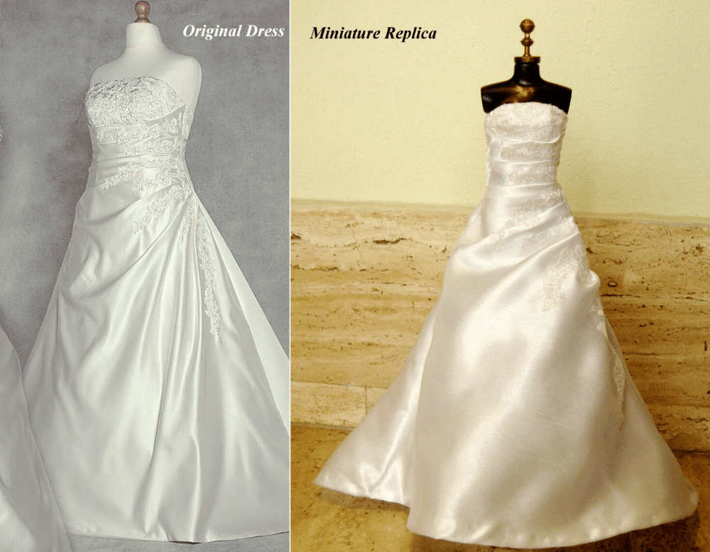 Comparison of miniature replica with satin and lace applique