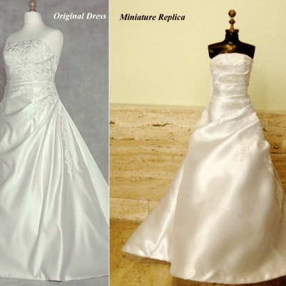 Comparison Of Miniature Replica with Satin and Lace Applique Wedding Dress BY BELAFABRICA