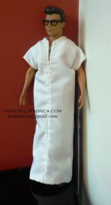 Miniature Doll Outfit Moroccan White Gandora Male Algerian outfit Side View BY BELAFABRICA