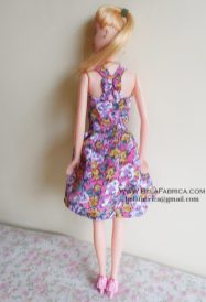 Miniature Floral Short Dress for Barbie Doll BY BELAFABRICA back view