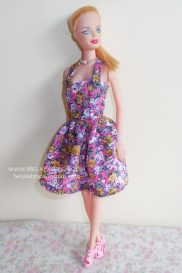 Miniature Floral Short Dress for Barbie Doll Side View