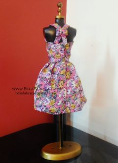 Miniature Floral Short Purple Dress on mannequin back view
