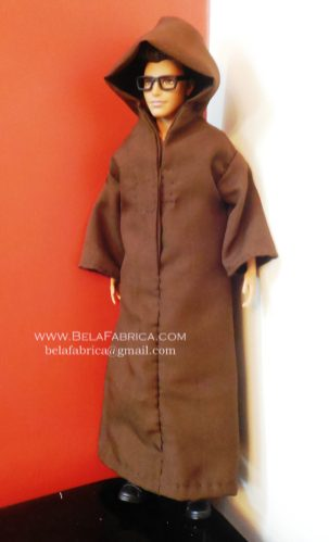 Miniature Male outfit Solid Brown Djellaba For Ken Doll or Barbie With Hoodie BY BELAFABRICA