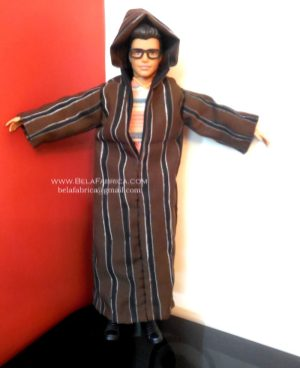 Miniature Moroccan Male outfit Brown striped Djellaba By BELAFABRICA