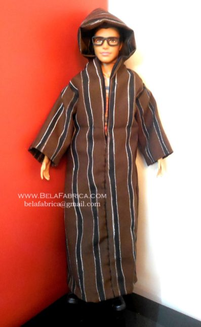 Miniature Moroccan Male outfit Brown striped Djellaba