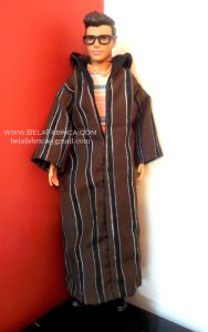 Miniature Moroccan Male outfit Brown striped Djellaba without the hoodie