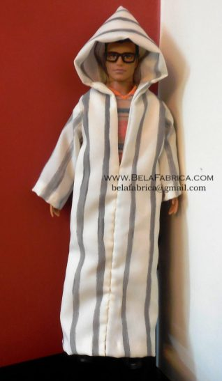 Miniature Moroccon Male outfit Grey striped Djellaba