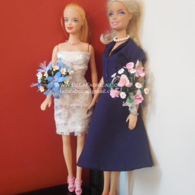 Miniature Pink and Blue Flower Bridesmaid Bouquets for Fashion Dolls BY BELAFABRICA