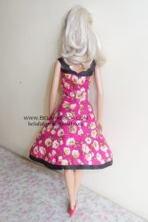 Miniature Pink Floral Short Dress Barbie Doll Back View BY BELAFABRICA