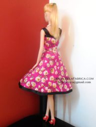 Miniature Pink Floral Short Dress Barbie Doll Back View