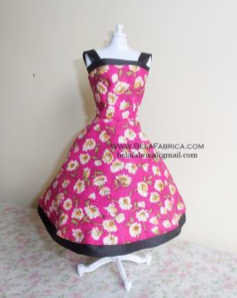 Miniature Pink Floral Short Dress for Fashion Doll