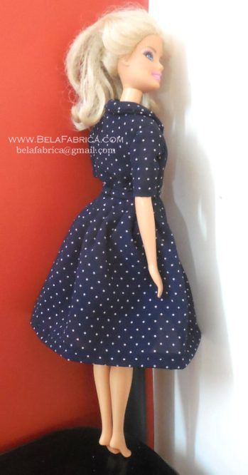 Miniature Replica 50s Dress for Fashion Doll Navy Blue Polka Dotted Back View