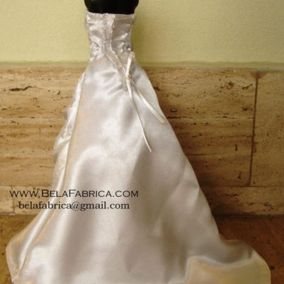 Miniature Replica Doll Dress of Satin Wedding Dress with Lace applique and tie up back