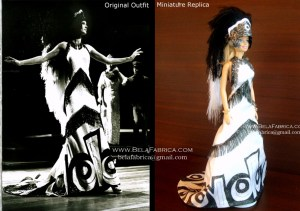 Miniature Replica Follies Outfit With Headdress Front View