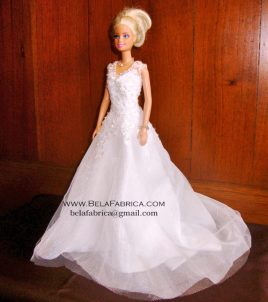 Miniature Replica of a Lace Ballgown V neck beaded wedding Dress by BELAFABRICA